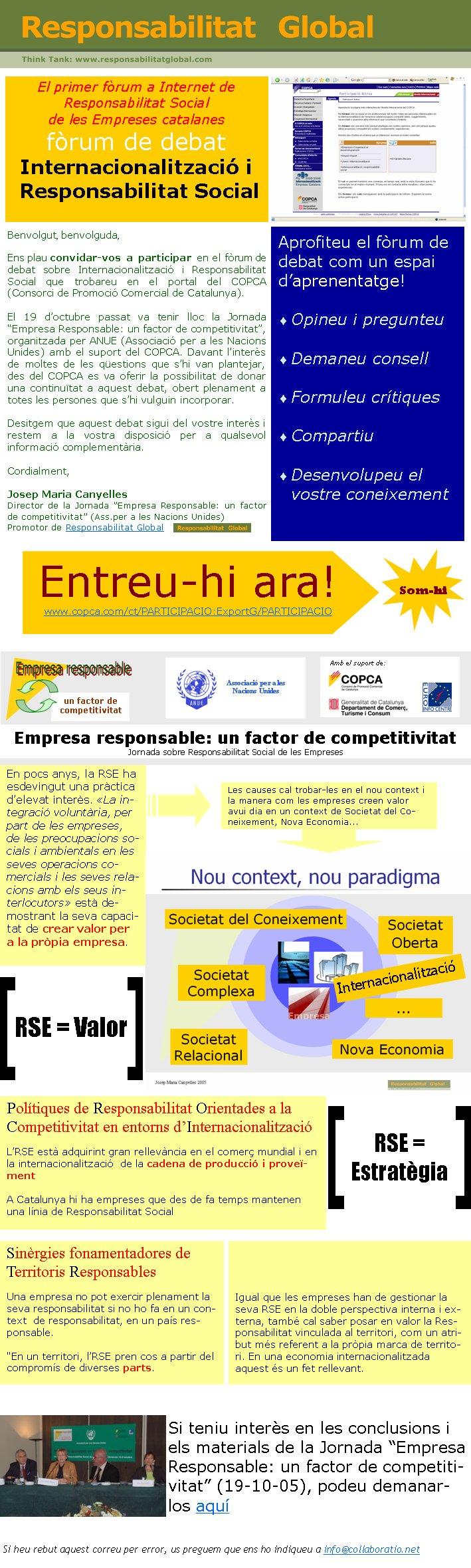 """Benvolgut, benvolguda,Ens plau convidar-vos a participar en el fòrum de debat sobre Internacionalització i Responsabilitat Social que trobareu en el portal del COPCA (Consorci de Promoció Comercial de Catalunya). El 19 d'octubre passat va tenir lloc la Jornada """"Empresa Responsable: un factor de competitivitat"""", organitzada per ANUE (Associació per a les Nacions Unides) amb el suport del COPCA. Davant l'interès de moltes de les qüestions que s'hi van plantejar, des del COPCA es va oferir la possibilitat de donar una continuïtat a aquest debat, obert plenament a totes les persones que s'hi vulguin incorporar. Desitgem que aquest debat sigui del vostre interès i restem a la vostra disposició per a qualsevol informació complementària. Cordialment,Josep Maria Canyelles                                       Director de la Jornada """"Empresa Responsable: un factor de competitivitat"""" (Ass.per a les Nacions Unides)                                          Promotor de Responsabilitat Global                      Si heu rebut aquest correu per error, us preguem que ens ho indiqueu a info@collaboratio.net En pocs anys, la RSE ha esdevingut una pràctica d'elevat interès. «La integració voluntària, per part de les empreses, de les preocupacions socials i ambientals en les seves operacions comercials i les seves relacions amb els seus interlocutors» està demostrant la seva capacitat de crear valor per a la pròpia empresa. Polítiques de Responsabilitat Orientades a la Competitivitat en entorns d'InternacionalitzacióL'RSE està adquirint gran rellevància en el comerç mundial i en la internacionalització  de la cadena de producció i proveïment A Catalunya hi ha empreses que des de fa temps mantenen una línia de Responsabilitat SocialSinèrgies fonamentadores de Territoris ResponsablesUna empresa no pot exercir plenament la seva responsabilitat si no ho fa en un context  de responsabilitat, en un país responsable.""""En un territori, l'RSE pren cos a partir del compromís de diverses parts. Em"""