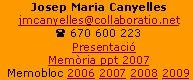 Josep Maria Canyellesjmcanyelles@collaboratio.net( 670 600 223    Presentació   Memòria ppt 2007Memobloc 2006 2007 2008 2009